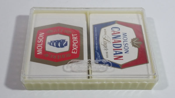 Vintage Molson Canadian Molson Export Beer 2 Styles of Plastic Coated Playing Cards Still Sealed and in Plastic Clear Top Case - British Hong Kong