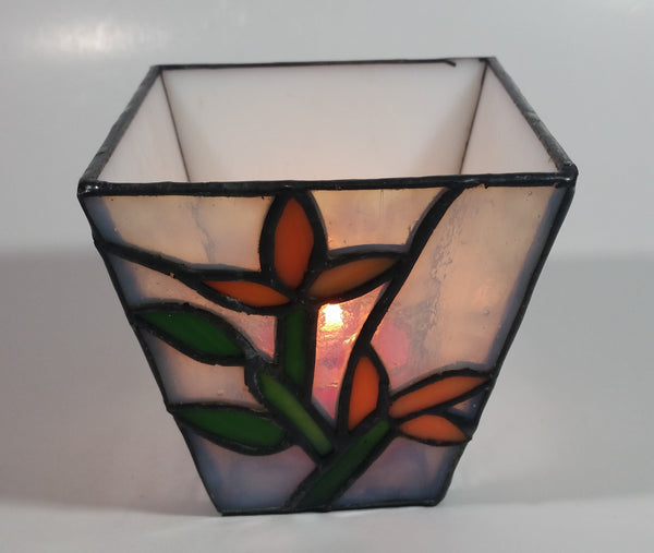 White Flower Themed Small Stained Glass Candle Holder