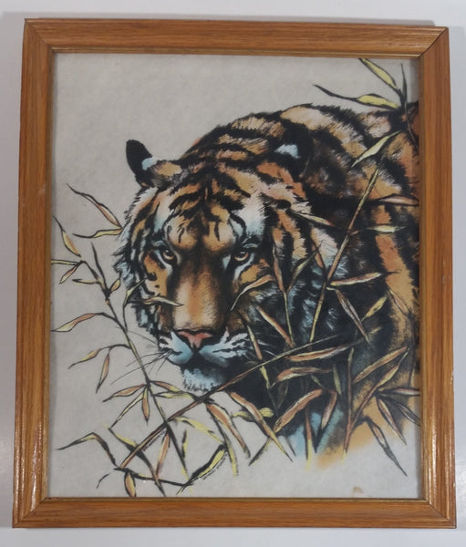 "1994 National Wildlife Siberian Tiger on White Felt or Velvet 11"" x 13"" Framed Art by Harlequin N.G."