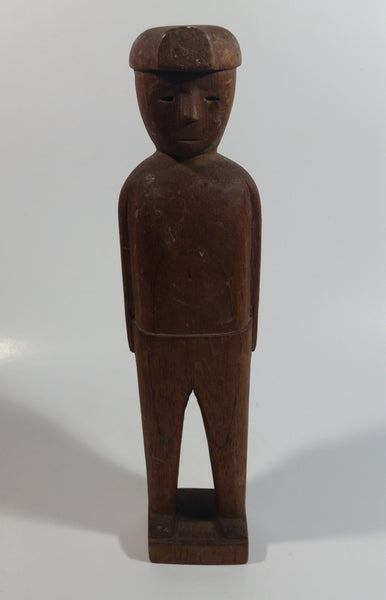 "Hand Carved 9"" Tall Wooden Man Figure Statue"