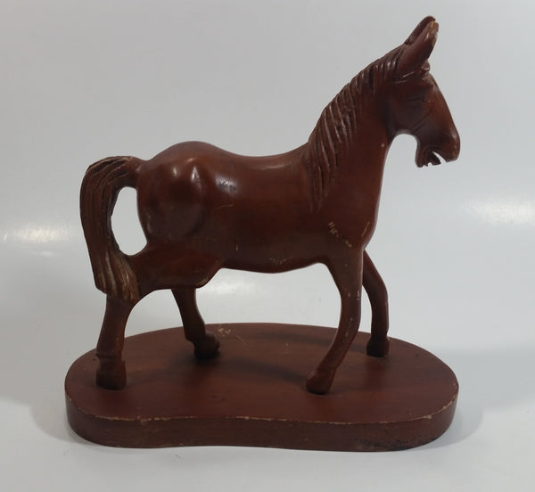 "Hand Carved Wood 7"" Tall Wooden Horse Carving Statue On a Base"