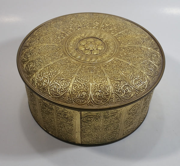 Vintage Guildcraft New York Embossed Brass Metal Tin Round Circular Container