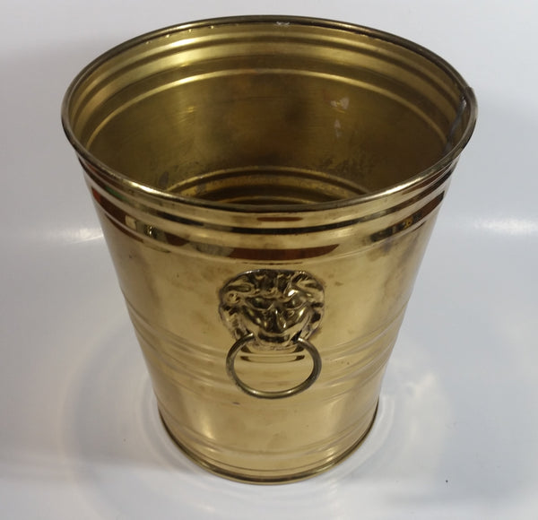 "Vintage Hammered Brass Lion Head Handles Trash Waste Can Bucket Pail Made in England 8 1/2"" Tall"