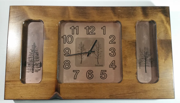 Rare Vintage Bulova Wooden Framed Tree Forest Themed Wall Clock - Working - Battery Operated