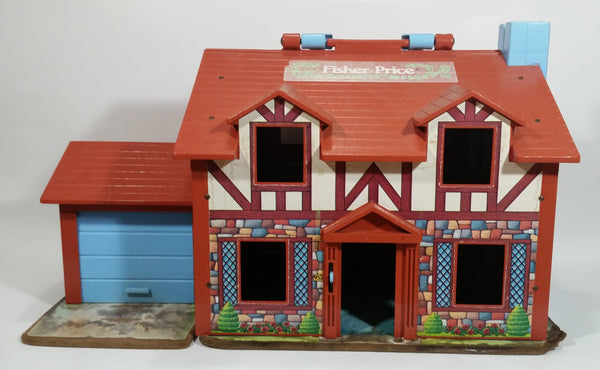 Vintage Fisher Price Little People Brown Tudor House Toy with Opening Garage Door and Doorbell - Missing Front Door
