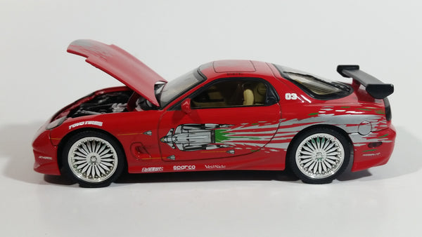 ERTL Racing Champions Universal Studios The Fast and The Furious Vin Diesel Dom's 1993 Mazda RX7 Red 1:24 Scale Die Cast Toy Car Vehicle Movie Film Collectible
