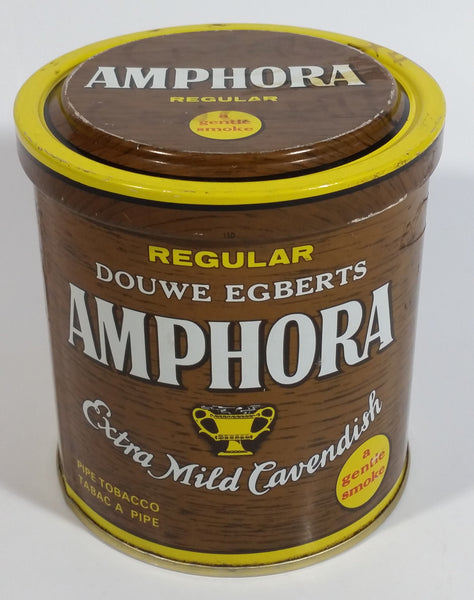 Vintage Douwe Egberts Amphora Pipe Tobacco Extra Mild Cavendish Brown and Yellow Tin Can - Empty