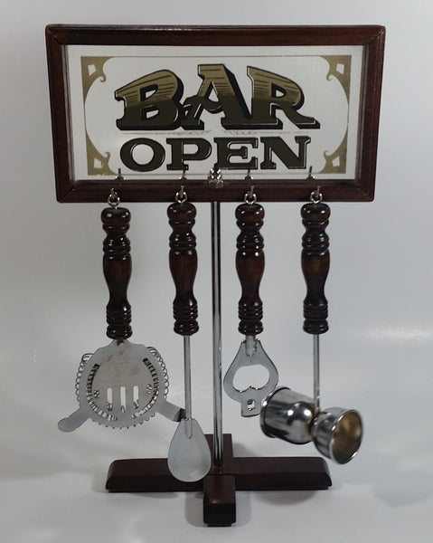 "Vintage Bar Open Mirror Nostalgia Bar Tools Drink Mixing 13 3/4"" Tall 5 Piece Set Man Cave Collectible"