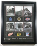 "NHL Ice Hockey History Original Six Sports Arenas Toronto, Montreal, Chicago, Boston, Detroit, New York Framed Print Wall Hanging Authentic HockeyRules Sports Collectible 18"" x 22"""