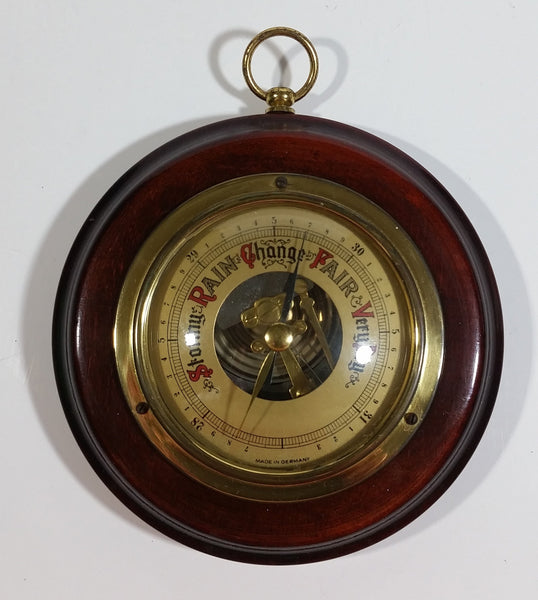 "Vintage 4"" Diameter Wooden Cased Weather Barometer Made in Germany"