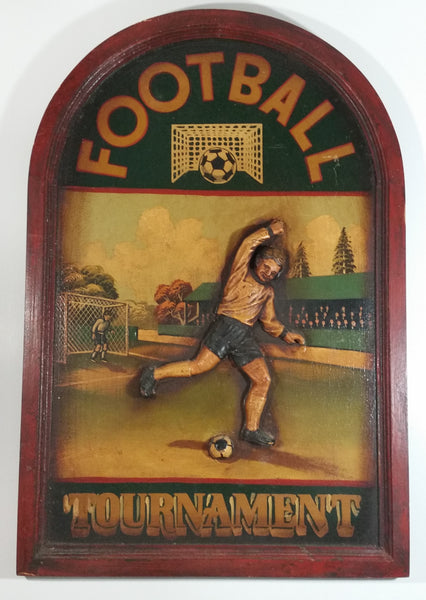 Soccer Football Tournament 3D Wood Folk Art Carving Pub Games Room Hanging Sports Collectible