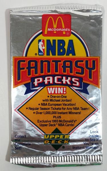 1992 Upper Deck McDonald's NBA Basketball Fantasy Pack of Trading Cards - Never Opened - Still Sealed