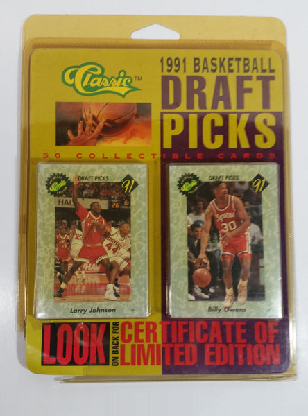 Classic Premiere Edition NBA 1991 Basketball Draft Picks 50 Card Pack with Numbered Certficate of Limited Edition - Damage to the corners of Packages