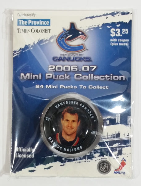 2006 - 07 The Province Time Colonist NHL Ice Hockey Mini Puck Collection Vancouver Canucks Markus Naslund New sealed in Package