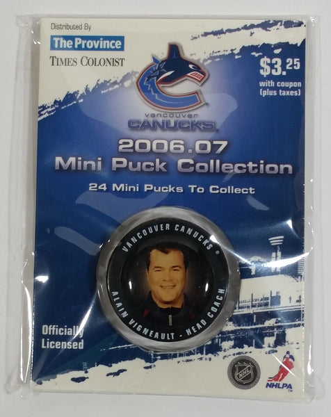 2006 - 07 The Province Time Colonist NHL Ice Hockey Mini Puck Collection Vancouver Canucks Head Coach Alain Vigneault New sealed in Package