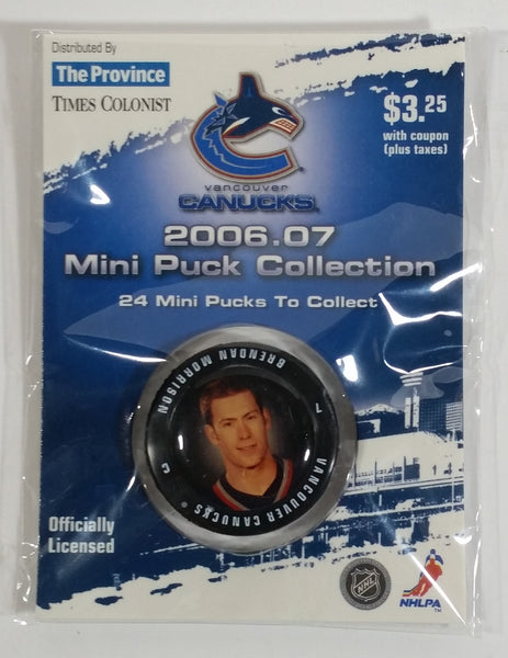 2006 - 07 The Province Time Colonist NHL Ice Hockey Mini Puck Collection Vancouver Canucks Brendan Morrison New sealed in Package