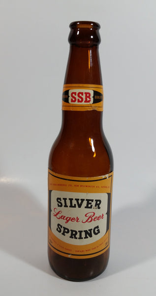 "Vintage Lucky Lager Breweries SSB Silver Spring Lager Beer 9"" Tall Amber Glass Beer Bottle"