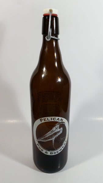 "Pelican Pub & Brewery Pacific City Oregon Coast USA 13"" Tall 1 Litre Amber Glass Beer Bottle"