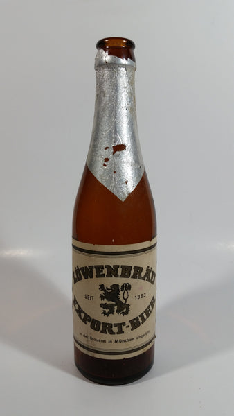 "Vintage Lowenbrau Export Bier Beer 9"" Tall Amber Glass Beer Bottle Munich Germany"