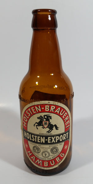 "Vintage Holsten Export Bier Beer 7 3/8"" Tall Amber Glass Beer Bottle with Embossed Lettering Hamburg Germany"