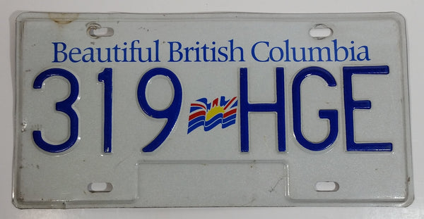 Beautiful British Columbia White with Blue Letters Vehicle License Plate 319 HGE