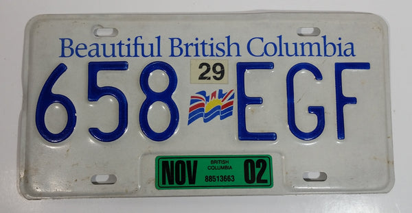 2002 Beautiful British Columbia White with Blue Letters Vehicle License Plate 658 EGF