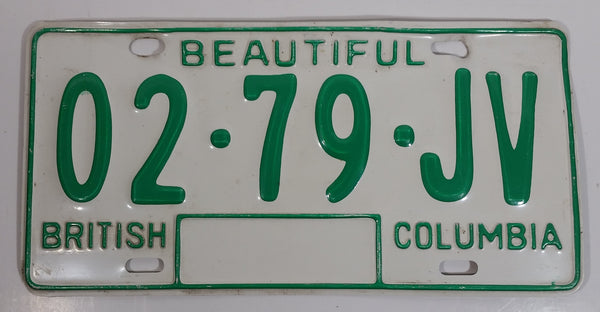 c. 1986 Beautiful British Columbia White with Green Letters Vehicle License Plate 02 79 JV