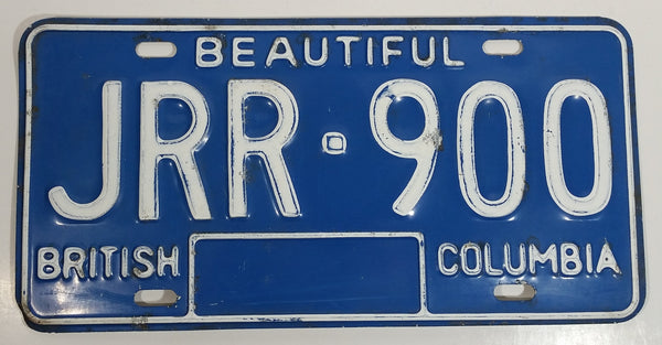 Early 1980s Beautiful British Columbia Blue with White Letters Vehicle License Plate JRR 900