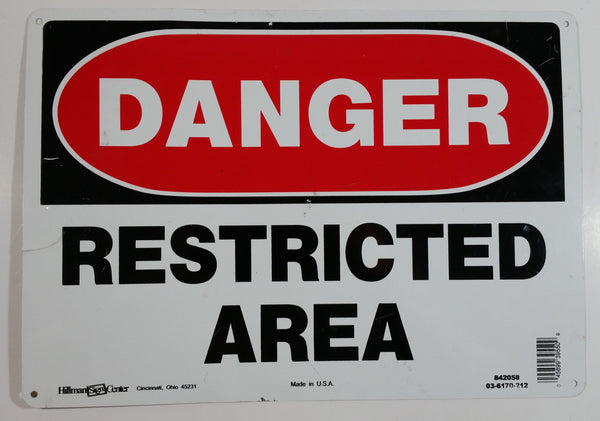 "Danger Restricted Area 10"" x 14"" Thin Tin Metal Novelty Sign"