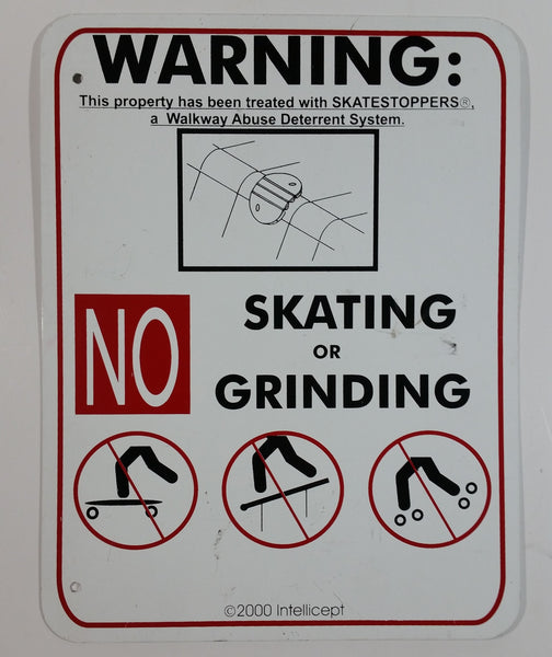 "Intellicept Skatestoppers Deterrent No Grinding No Skating No Skateboarding 10"" x 13"" Metal Warning Notice Sign"