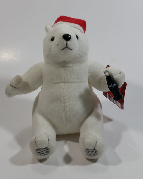 Coca-Cola Coke Soda Pop Beverages White Polar Bear with Santa Christmas Red Hat Stuffed Animal Bean Bag Plush Plushy Collectible