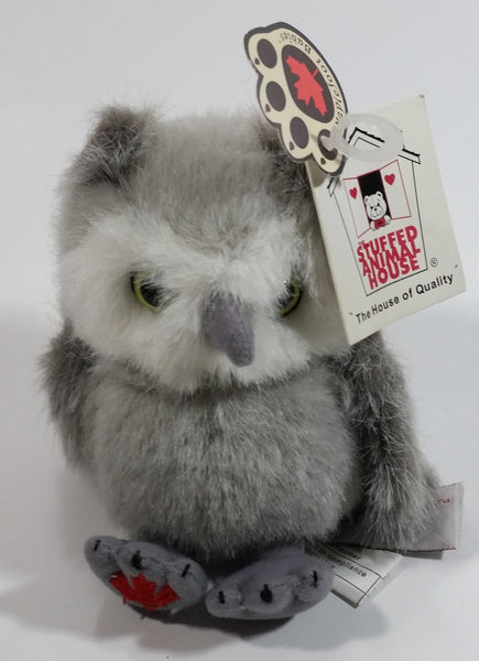 "Stuffed Animal House 4 1/2"" Tall Maplefoot Grey Owl Babies Plush Cute Toy with Tags"