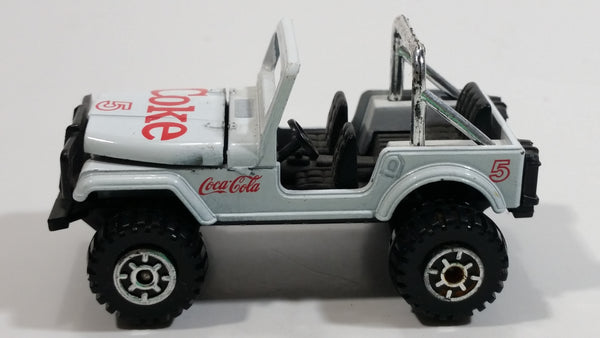 1988 Hartoy Coca Cola Coke Soda Pop 4x4 Roader Jeep White Red Die Cast Toy Car Vehicle with Opening Hood