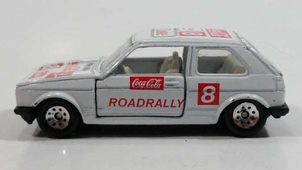1988 Hartoy Coca Cola Coke Soda Pop VW Volkswagen Golf GTI White Red Die Cast Toy Car Vehicle with Opening Doors