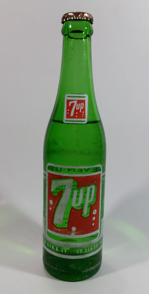 Vintage 1960s 7up Soda Pop 7 Fl. oz Green Glass Beverage Bottle Vancouver, BC Full Never Opened