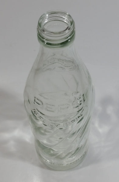 Vintage Pepsi-Cola Soda Pop 16 Fl oz 1 Pint Clear Twist Glass Bottle with Raised Embossed Letters