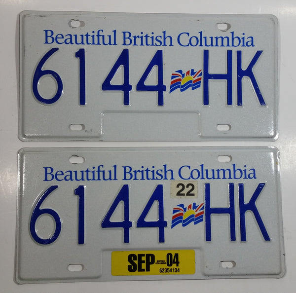 2004 Beautiful British Columbia White with Blue Letters Vehicle License Plate Set of 2 6144 HK