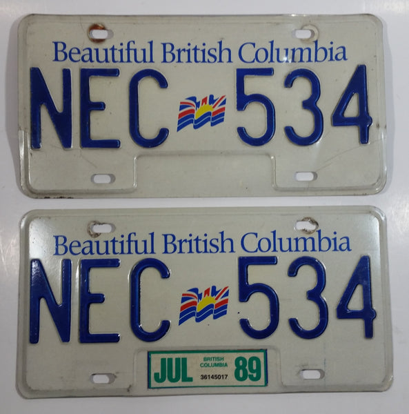 1989 Beautiful British Columbia White with Blue Letters Vehicle License Plate Set of 2 NEC 534