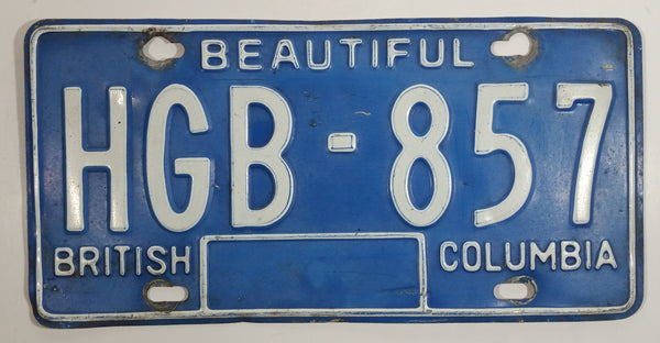 1980s Beautiful British Columbia Blue with White Letters Vehicle License Plate HGB 857