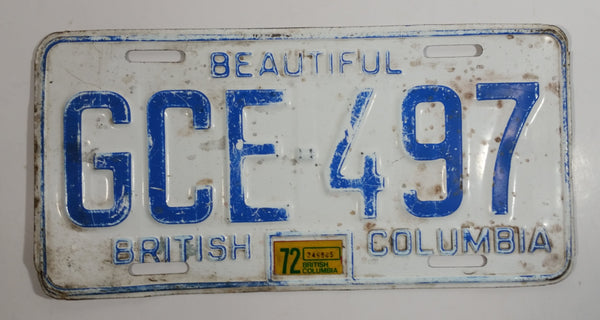 1972 Beautiful British Columbia White with Blue Letters Vehicle License Plate GCE 497