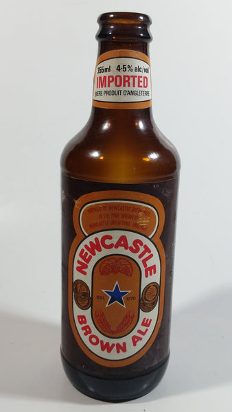 Vintage Tyne Brewery New Castle Brown Ale Beer 355mL Brown Amber Glass Bottle With Paper Label