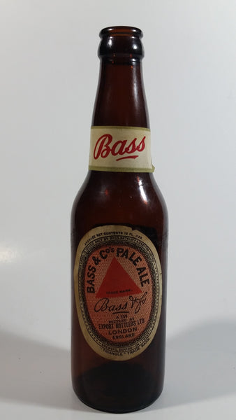Vintage Bass & Co Pale Ale Beer Brown Amber Glass Bottle With Paper Label