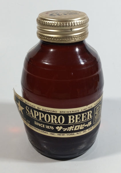 Vintage Sapporo Breweries Draft Beer Bottle 300mL 10 Fl. oz Brown Amber Glass Bottle Never Opened with Paper Label
