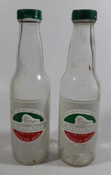 Rare Vintage Chihuahua Mexican Beer Clear Glass Bottle Salt and Pepper Shakers