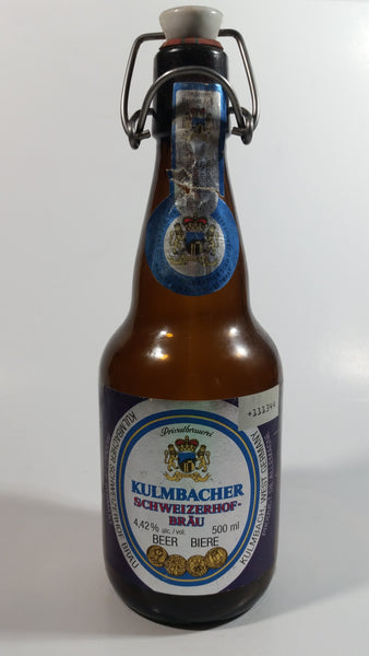 Vintage Kulmbacher Schweizerhof Brau Beer 500mL Brown Amber Metal Flip Top Glass Bottle with Porcelain White and Blue Plug