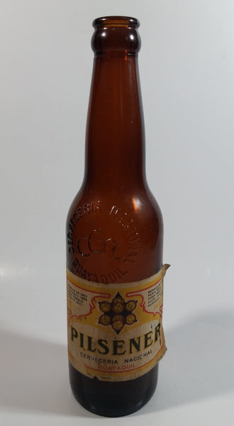 Antique Ecuador Cerveceria Nacional Guayaquil Beer Brown Amber Glass Bottle with Paper Label and Embossed Lettering