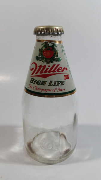 "Vintage Miller High Life Beer ""The Champagne of Beers"" 7 Fl. oz Clear Glass Bottle with Cap"
