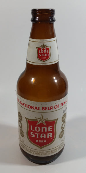 "Vintage Lone Star Beer ""The National Beer of Texas"" 12 Fl. o. Brown Amber Glass Bottle with Paper Labels"