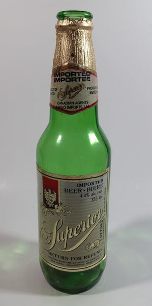 Vintage Cerveceria Moctezuma Superior Imported Beer 350mL Green Glass Bottle with Paper Labels Mexico