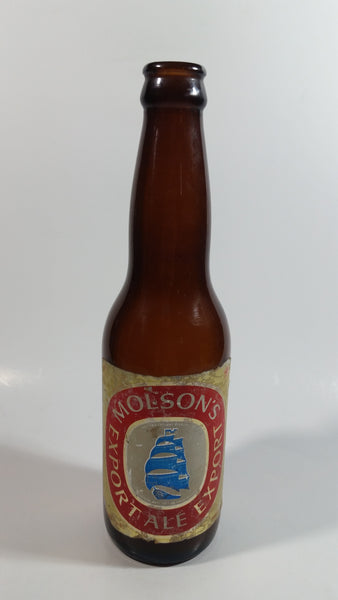 "Vintage Molson Ale Export Beer 9"" Tall Brown Amber Glass Bottle with Paper Labels"